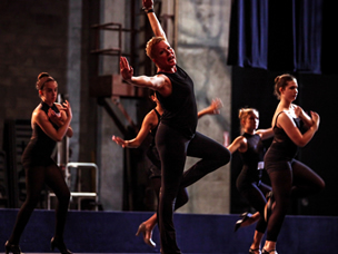 Kelly King leads dance students in a routine